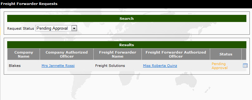 Pending Freight Forwarder Relationships - eCertify Help