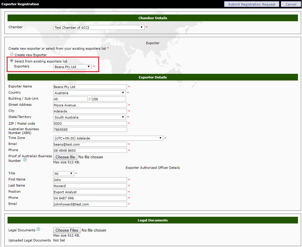 Register Exporter-Freight Forwarder Relationships - eCertify